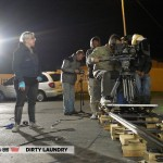 Exterior dolly, introducing and concluding Roger's night at the